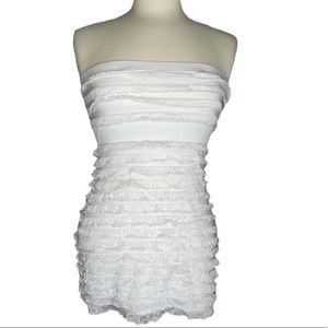 L8ter Strapless Layer Lace Top White Small